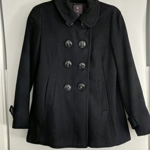 Forever 21 black double breasted button pea coat